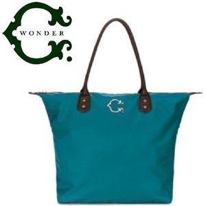 C. Wonder Teal Leather Nylon Tote Shoulder Bag